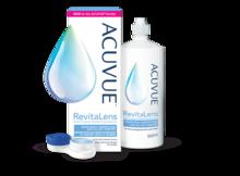 ACUVUE® RevitaLens  verpakking, fles en contactlenshouder.