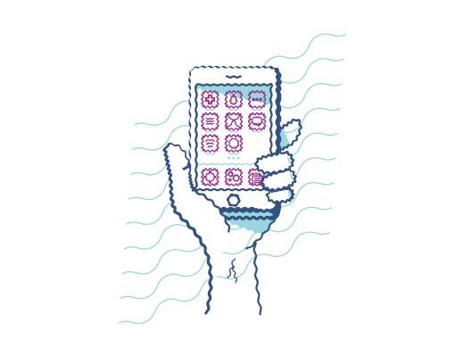 Exemple lorsque vous êtes astigmate de regarder un téléphone mobile avec une vision déformée.