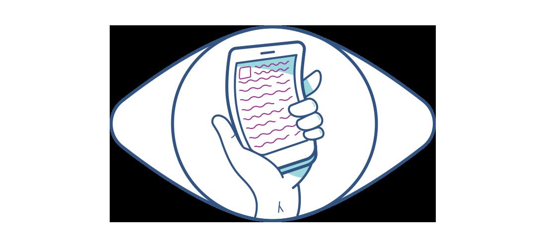 Illustration d'un téléphone portable déformé vu à travers un œil.
